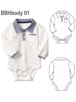 BODY CUELLO CAMISERO BEBE, MANGA LARGA.