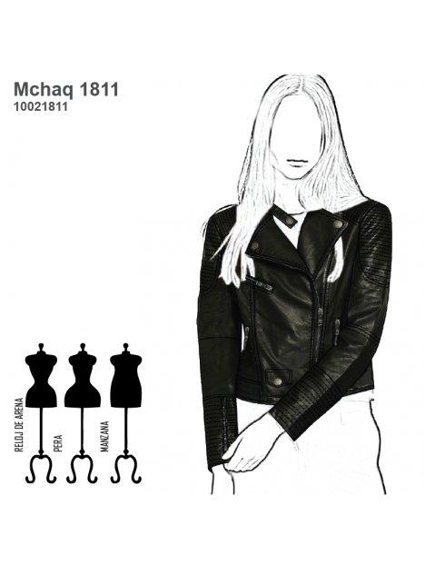 nueva estilos 4480d a4cfb MOLDE: CHAQUETA BIKER CUERO MUJER 1811